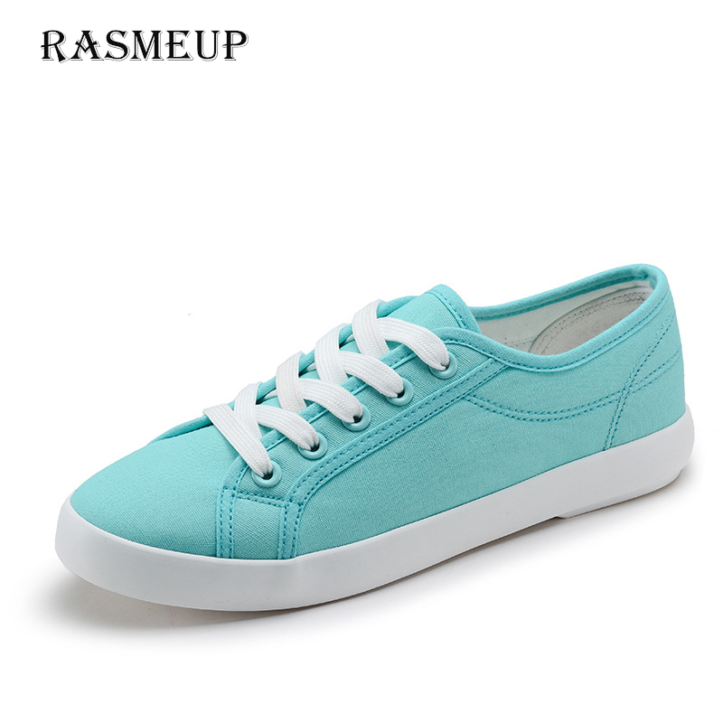 RASMEUP Women's Canvas Sneakers 2018 Summer Casual Women Lace Up Vulcanized Shoes Female Trainers Basket Shoes Woman Footwear rasmeup canvas women s sneakers 2018 new fashion lace up comfortable women flat shoes woman casual vulcanized shoes footwear