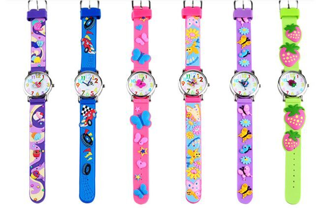 WILLIS children cartoon Sweet heart cake bees butterfly strawberry 3d watches Bright Color Stylish Analog Watch