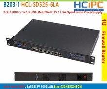 HCiPC B203-1 HCL-SD525-6LA-BareBone ATOM D525 6LAN 1U System/Router 6x211V LAN Router