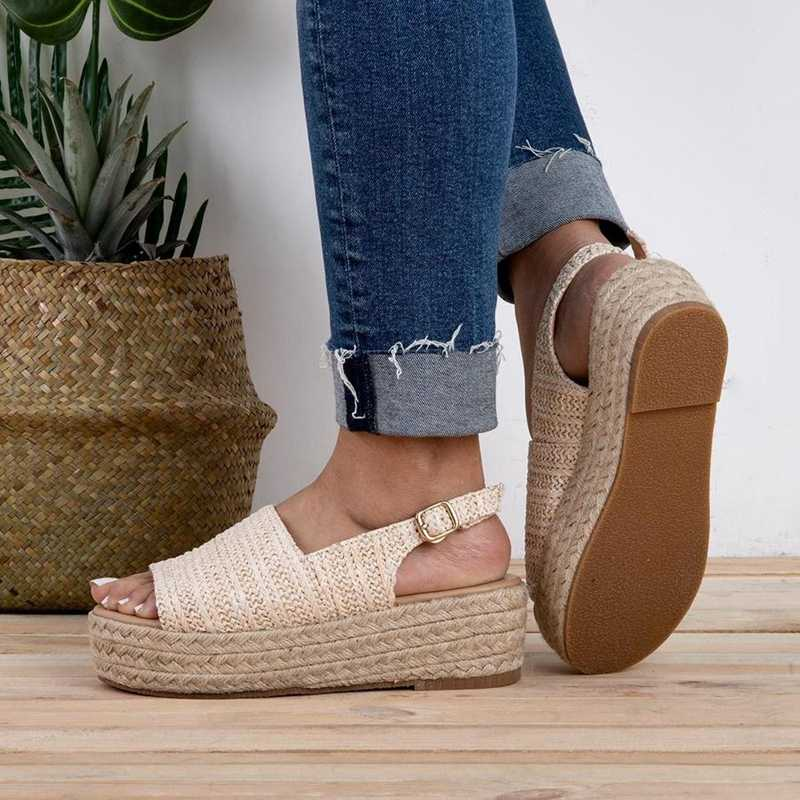 Laamei 2019 Mode Torridity Vrouwen Sandalen Vrouwelijke Strand Schoenen fasten Schoenen Hak Comfortabele Sandalen Plus Size 43