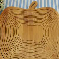 Faltbare Korb/Korb in Bambus in Form von Apple für Obst (Holz Log)