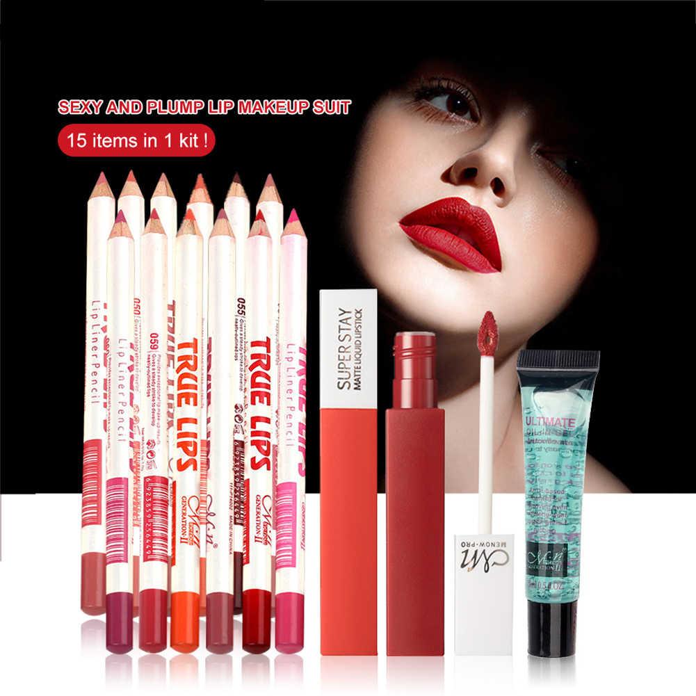 Nova maquiagem 15 pçs em 1 kit 12 cores à prova dwaterproof água lábio forro lápis & 2 cores fosco batom & removedor de maquiagem gel