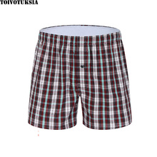 Underwear Men Boxers Shorts Full Cotton Contrast Binding Plain Design XL-XXXL 2016 Cueca Boxer New Brand mixed print contrast binding tee