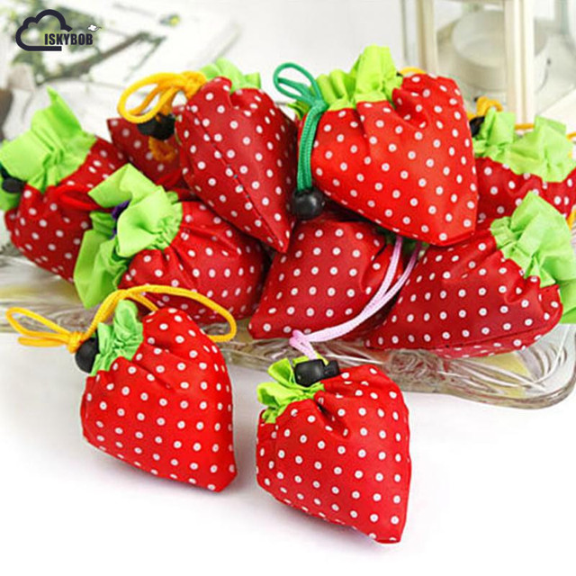 55ae94c47f9 ISKYBOB Hot Eco Storage Handbag Strawberry Foldable Shopping Bags Reusable  Folding Grocery Nylon Large Bag Random