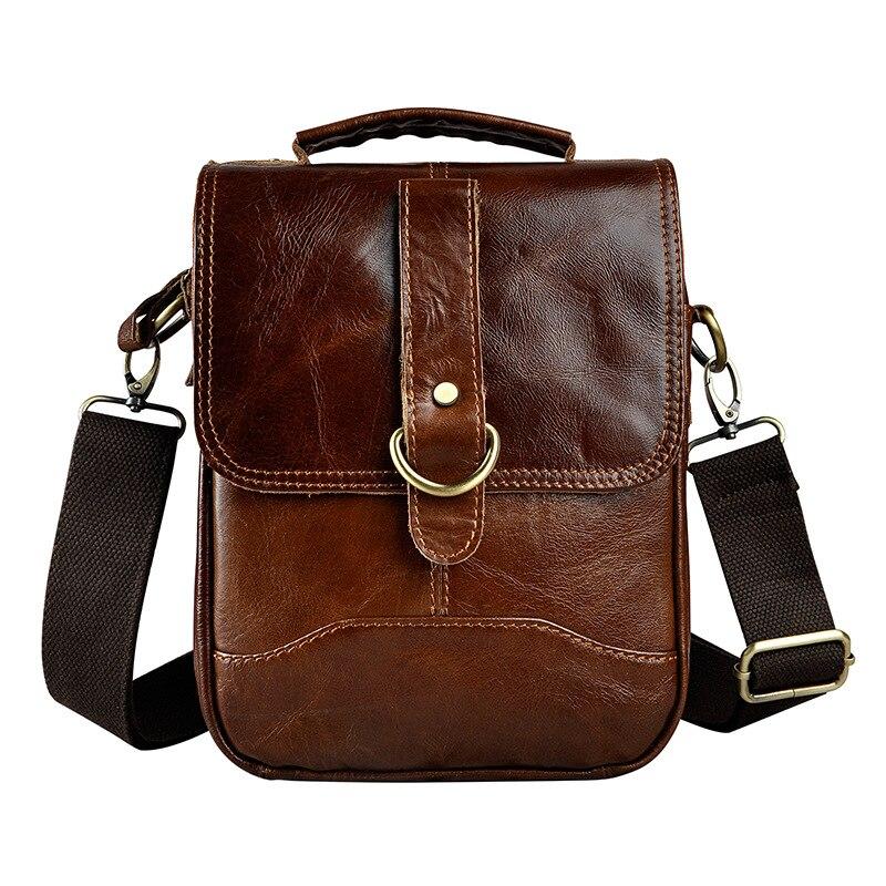 Quality Original Leather Male One Shoulder messenger bag cowhide fashion Cross-body Bag 8 Pad Tote Mochila Satchel bag 143
