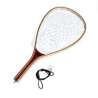 SF Wood Fly Fishing Trout Landing Net Rubber Net Catch and Release Streamside