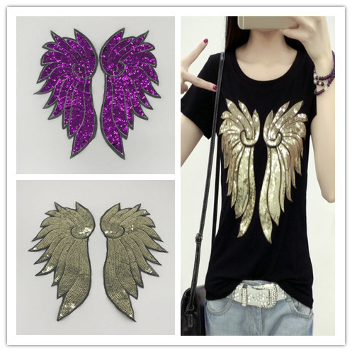 Embroidery Clothing Accessories Foreign Trade Fine Gold, Purple Beads Embroidered Bright Pieceslarge Feather Wings