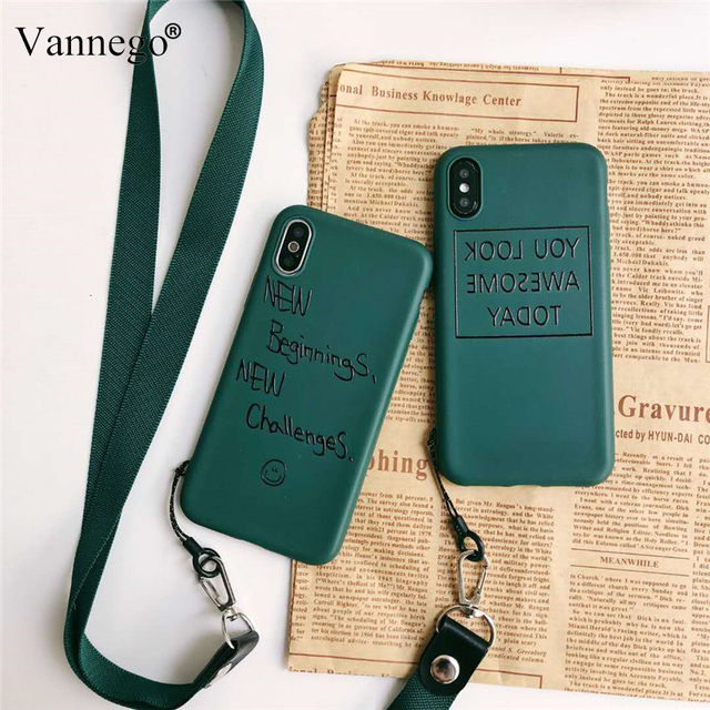 best service 925ed 8394b US $2.54 20% OFF|Vannego phone case for iphone X 8 7 6 6s back cover  Lanyard simple strap cover case for iPhone Xs max XR 7plus 6plus funda-in  Fitted ...