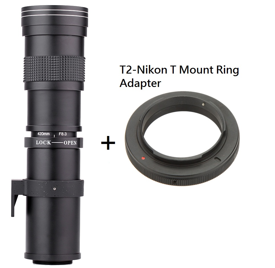 عدسة تكبير / تصغير ليد 420-800 ملم F / 8.3-16 Super Telephoto Manual Zoom + T2-Nikon T Mount Ring Adapter for Nikon D5100 D7000 D800 D90 D600