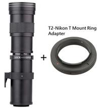 Lightdow 420-800มิลลิเมตรF/8.3-16ซุปเปอร์เทเลโฟโต้คู่มือการใช้งานเลนส์ซูม+ T2-Nikon Tเมาแหวนอะแดปเตอร์สำหรับกล้องNikon D5100 D7000 D800 D90 D600