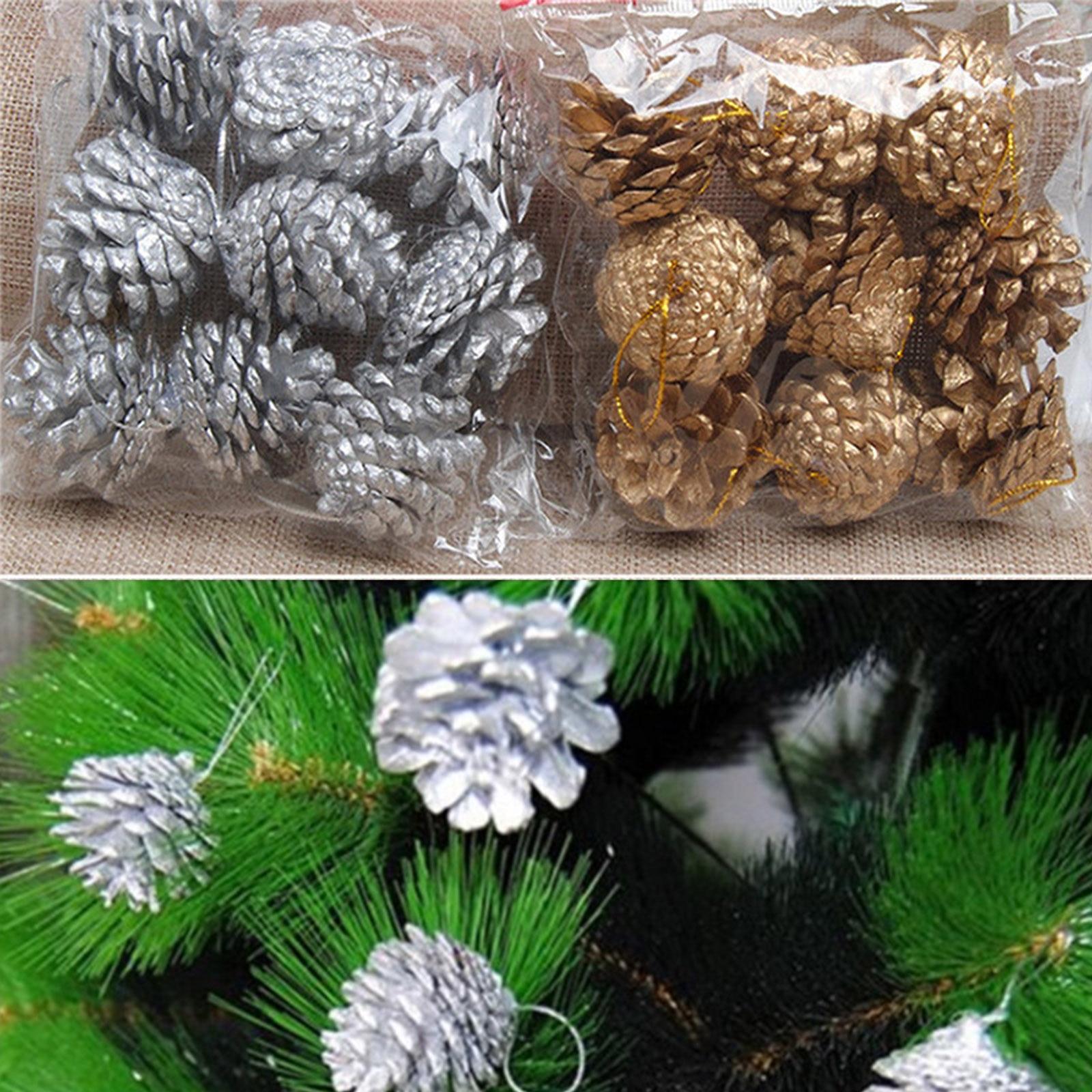9 pcs set natal Christmas Golden Silver Pine Cones Xmas Tree