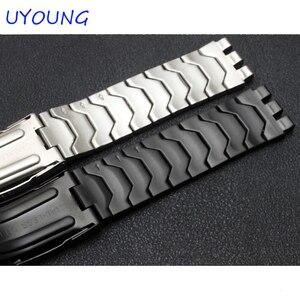 Image 5 - Diamant Edelstahl Armband für Swatch YCS410GX männlichen 19mm Schwarz Silber wasserdichte uhr zubehör