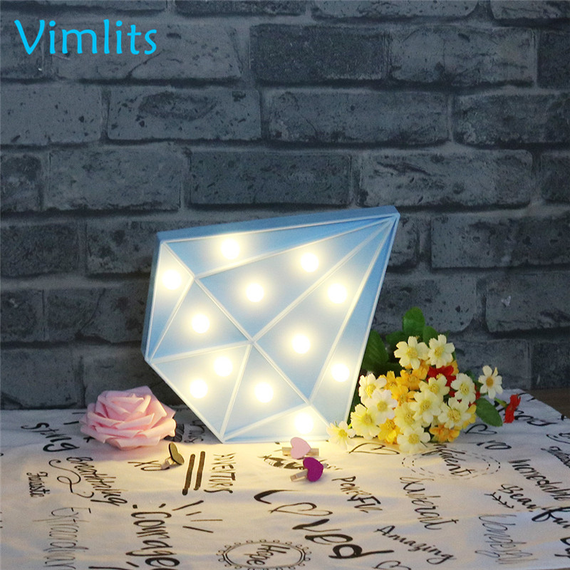 Vimlits LED Night Light Lamp Kids Marquee Letter Lights Diamond shape Signs Light Up Christmas Party Wall Decoration N033