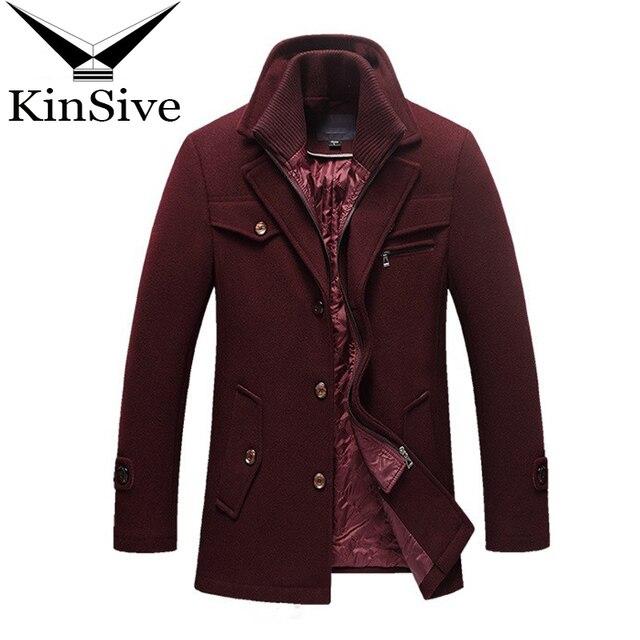 Для Мужчин's Шерстяные пиджаки и куртки зимние толстые теплые кашемировые куртка человек долго Однобортный пальто формальный Бизнес Повседневное шерстяное пальто
