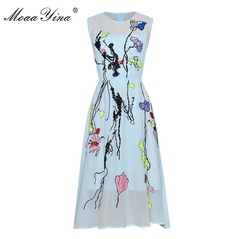 MoaaYina Fashion Designer Runway dress Spring Summer Women Dress Floral Embroidery Sequin Slim Elegant Chiffon Dresses