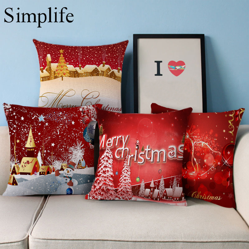 Christmas Xmas Linen Cushion Cover Throw Pillow Case Home: Simplife Merry Christmas Home Cushion Case Christmas Print