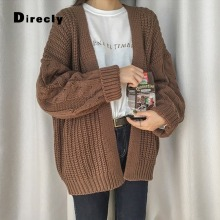 Direcly 2018 Casual Knitting Long Cardigan Female Loose Cardigan Knitted Jumper 2018 Warm Winter Sweater Women Cardigan(China)