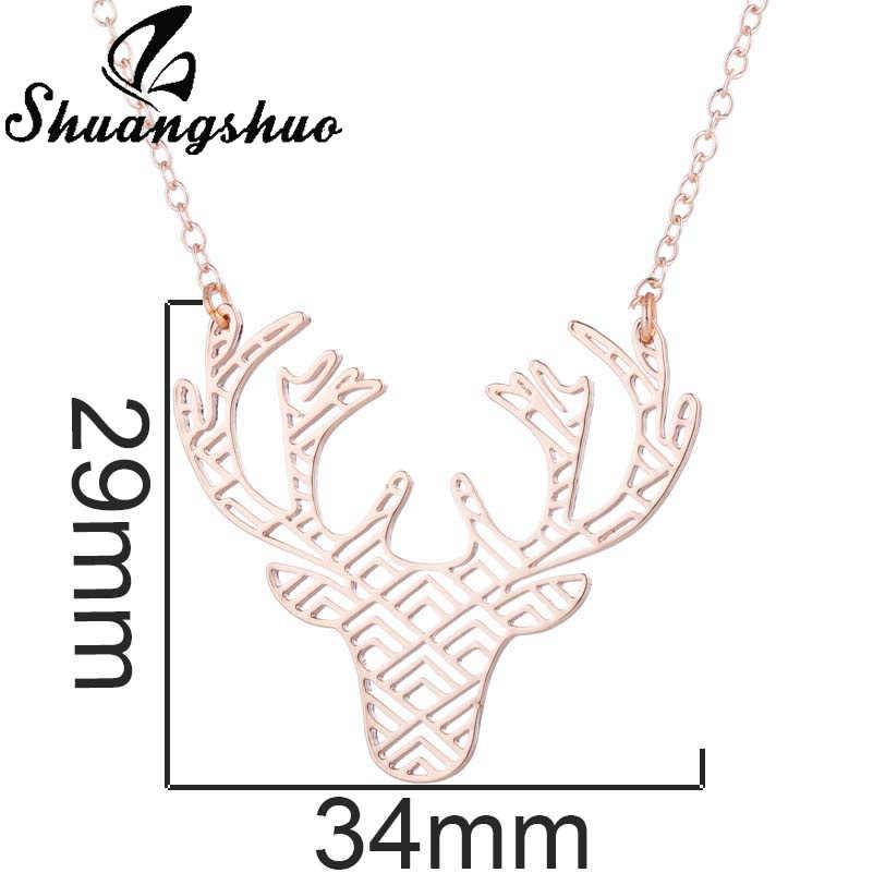 Shuangshuo corrente colar gargantilhas para mulher veados colares & pingentes aço staianless collier femme weeding jóias