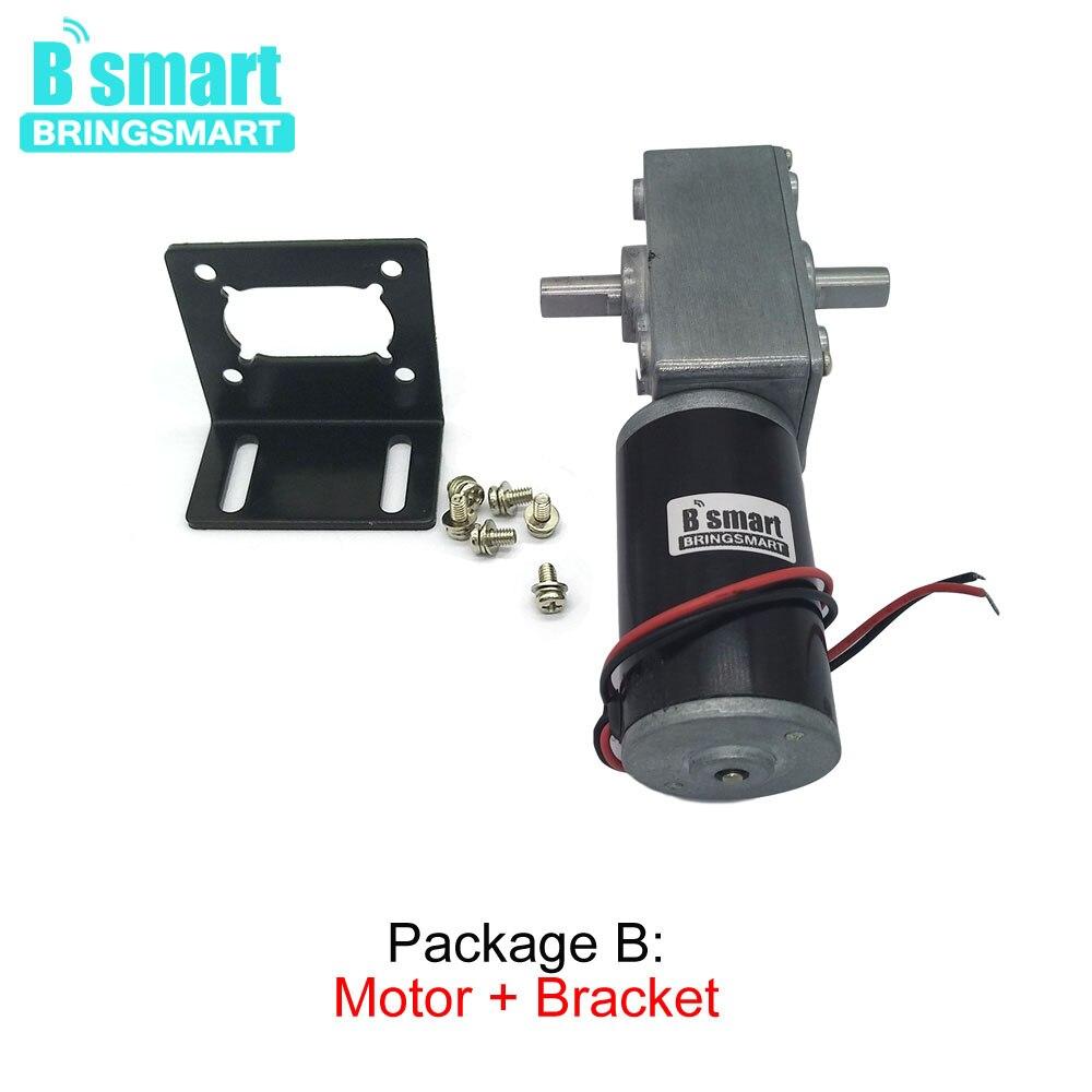 Bringsmart 12V DC Double Shaft Worm Gear Motor High Torque 70kg.cm 24 volt Motor Mini Turbine Worm Reducer Reversible A58SW31ZYS