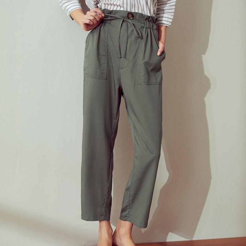 Pantalon été à col étroit ceinture dentelle sac en papier pantalon taille haute pantalon noir pêche beige olive pantalon couleur Pure - 3