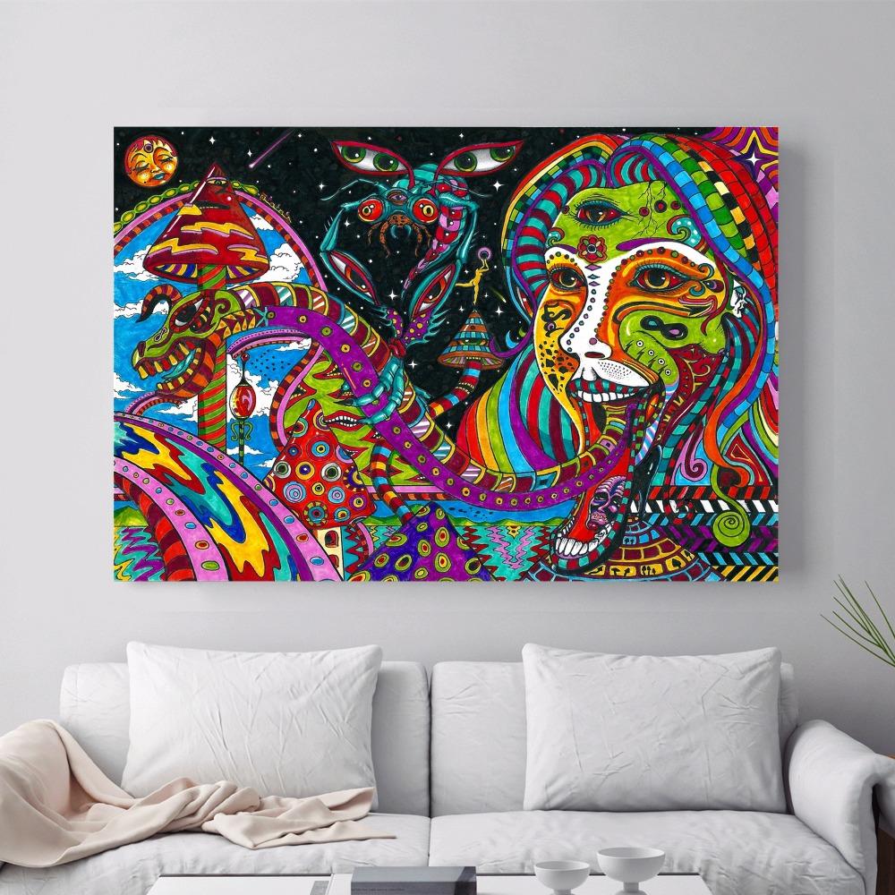 Psychedelic abstrakte acryl leinwand kunstdruck malerei poster mauerbilder für raumdekoration wohnkultur seide stoff kein rahmen