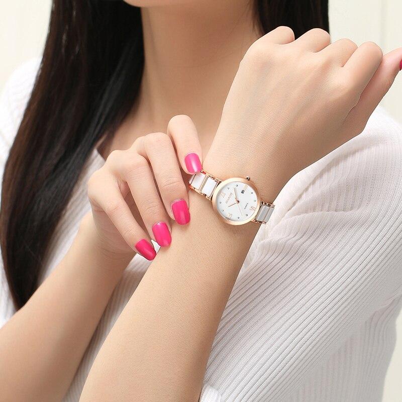 Бренд BUREI, женские часы, водонепроницаемые, модный керамический браслет, кварцевые наручные часы, женские, черные, золотые, белые, Relogio Feminino - 2