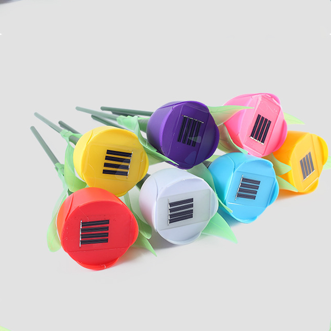 Outdoor Solar Power LED Lawn Colorful Tulip Flowers Lamp Light For Yard Garden Lawn Pathway Landscape Decoration