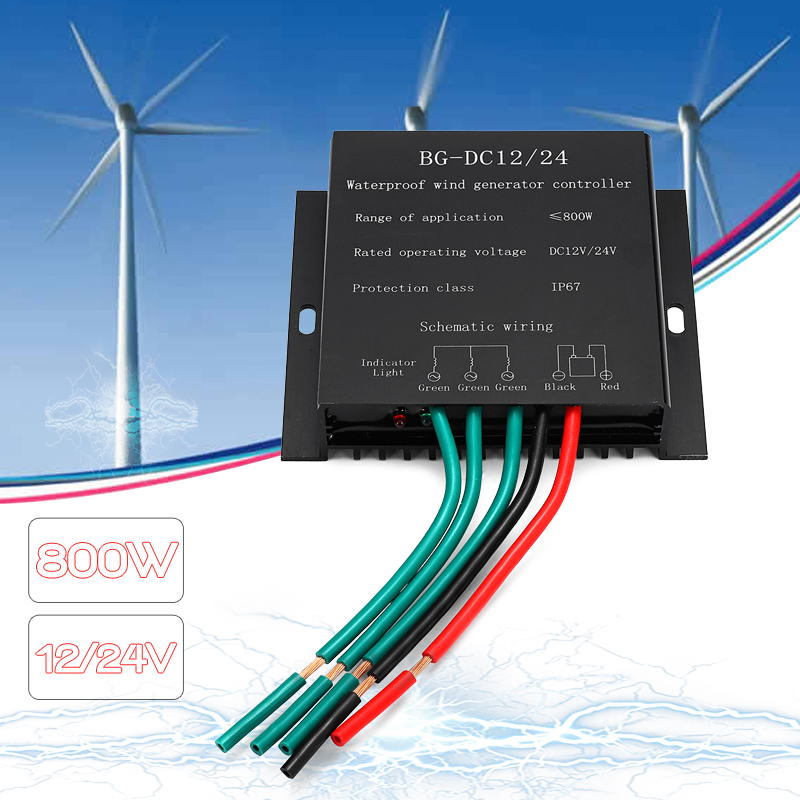 12/24V 800W Wind Generator Controller Overvoltage Speed Protection Silver Waterproof IP67 New Arrival brand new aftermarket engine speed controller efc3044196 fits 12 24v generator
