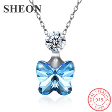 New arrival Luxury 925 Sterling Silver Austria Crystal Butterfly Pendant Necklace fine Jewelry for women gifts dropshipping