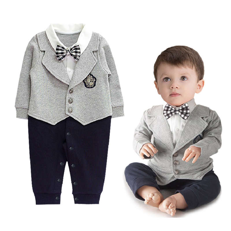 Baby Boys Clothes Spring Autumn Newborn Infant Gentleman fake 2pcs Clothing Long Sleeve Romper with Bow Tie Suit Bebes Costume