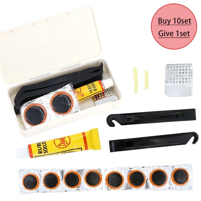 Herramientas Portátiles de bicicleta MTB Kits de herramientas de reparación de neumáticos de bicicleta Juego de palanca de pegamento de parche de goma para bicicleta de montaña