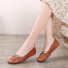 Artdiya genuine leather women shoes handmade  original retro single shoes female flat bottom soft peas shoe 2019 new women shoes