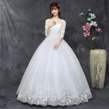 Vestidos De Noiva 2019 Elegant Nine points sleeve Wedding Dress Tulle embroidery Princess Lace Wedding Gown floral nine points sleeve hollow lace dress