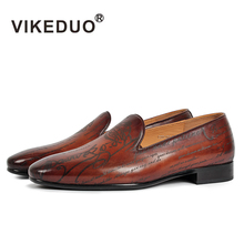 Vikeduo Handmade Men's Loafer Shoes Genuine Leather Fashion Wedding Party Luxury Brand Male Shoes Casual Slip-On Mans Footwear