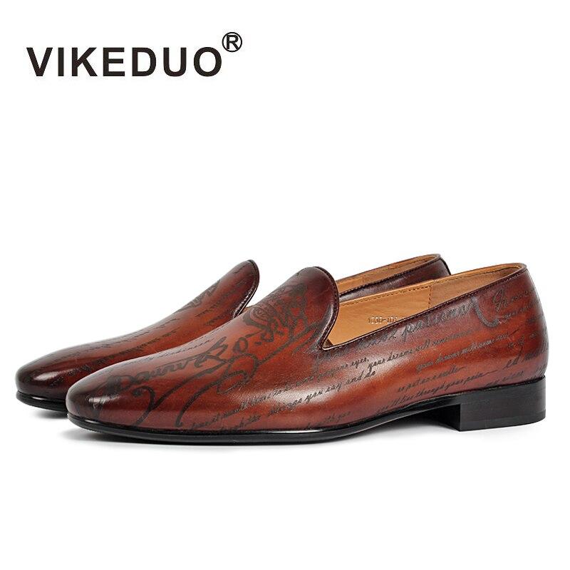 Vikeduo de los hombres hechos a mano holgazán zapatos de cuero genuino de moda de fiesta de boda de lujo de marca, para Hombre Zapatos casuales zapatos Slip-On Mans calzado