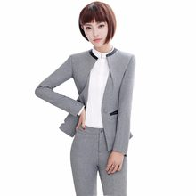 0b1f4efee Mujeres pantalón Formal traje uniforme diseños oficina carrera desgaste  chaqueta gris con pantalón para el trabajo 2 unidades Se.