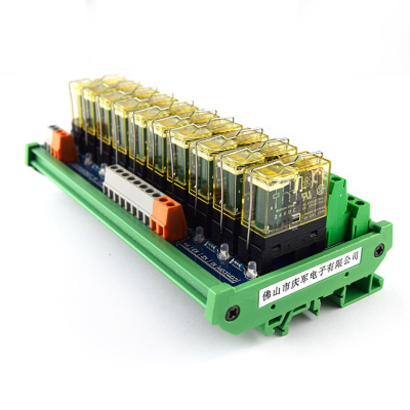 10-way relay dual-group module, 24V rail mounting, PLC amplifier board control board 16 way intermediate relay module plc expansion board belt guide rail high or low trigger 5 12 24v optional