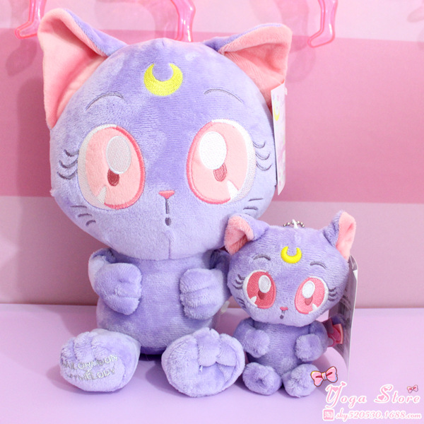 Cartoon Animal Sailor Moon Luna Cat Plush Keychain Pendants Toys Stuffed Soft Dolls Toy 10CM/23CM funny emoji cartoon face plush toys keychain pendant cute soft stuffed qq mini dolls round smile keyring gift