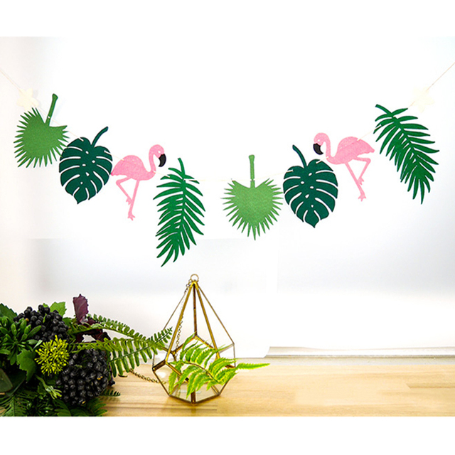 Rainforest Flamingo Bunting String Flags For Boy Girl Shower Themed Party Festa Home Birthday Boy Girl Party Supplies
