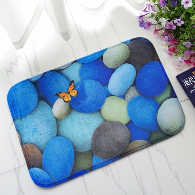 Colored Pebbles Bathroom Carpet Anti Slip Rectangle Floor Mats Polyester  Kitchen Mat Rural Style Door