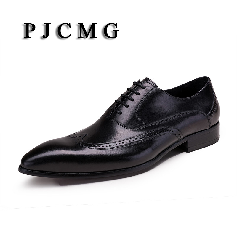 PJCMG Fashion New Black /Red Oxfords Formal Dress Lace-Up Pointed Toe Genuine Embossed Leather Business Man Wedding Shoes top quality crocodile grain black oxfords mens dress shoes genuine leather business shoes mens formal wedding shoes