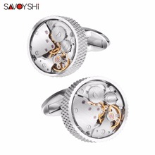 SAVOYSHI Classic Shirt Cufflinks For Men Brand High Quality Silver Round Mechanical Watch Movement Cuff Buttons Business Gift kflk jewelry shirt cufflinks for mens brand silver watch movement mechanical cuff links buttons male high quality free shipping