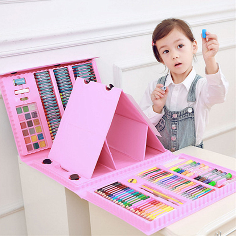 208Pcs/Set Blue Pink Drawing Toys Painting Paint Tool Set Watercolor Pen Children's Christmas New Year Birthday Gifts Toys