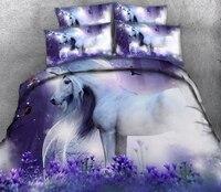 Custom size bed set Unicorn 3D Bedding set twin queen California king size Bed/flat Sheet Linen set Duvet Quilt Cover Pillowcase