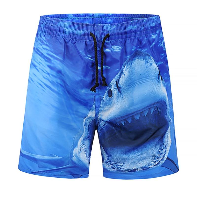 Men's Board Shorts Funny Shark Printing Beach Shorts 2019 Summer New Fashion Shorts High Quality Active Wear Short Trousers