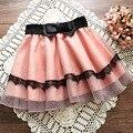 Primavera verano sweet cintura elástica bowknot bellamente pink lace sun mini faldas del tutú falda de las mujeres school girl ropa coreana