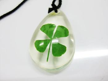 FREE SHIPPING 50 PCS Lucky real four leaf clover lucid ice drp style green cool fine pendant