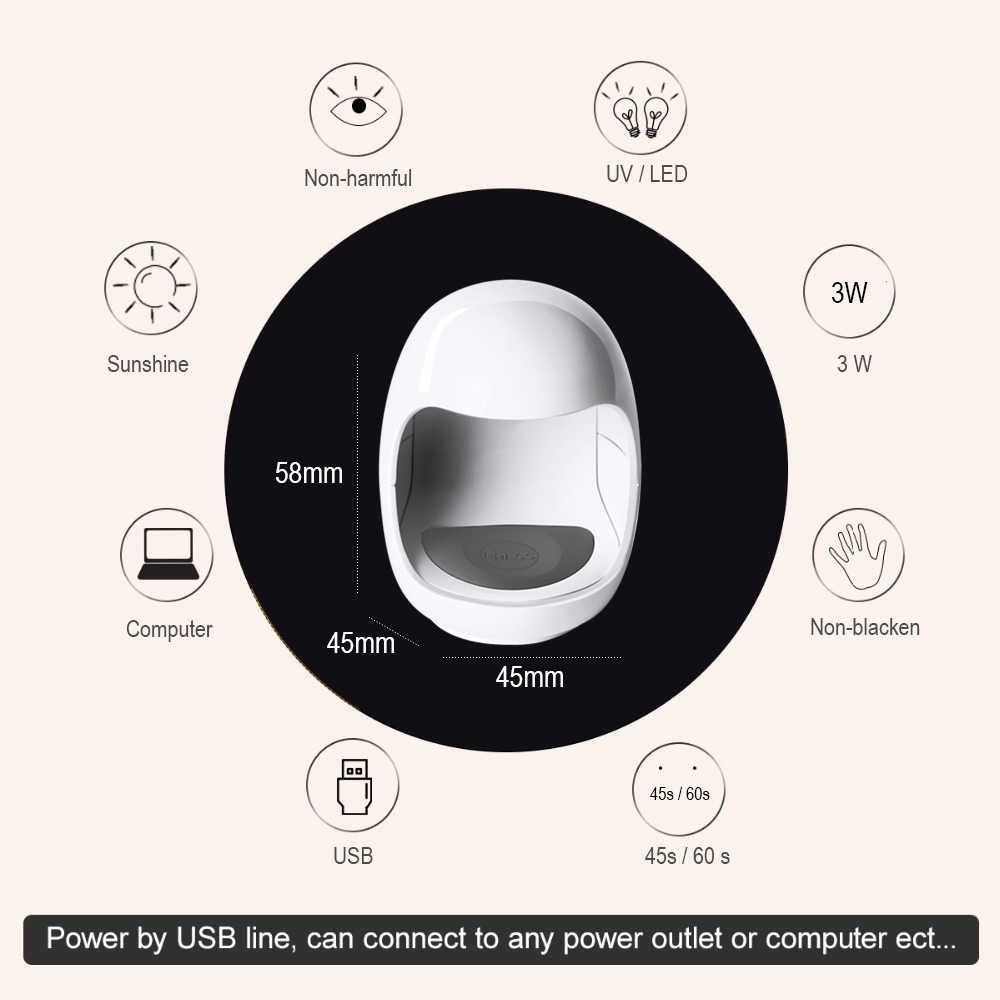 UV LED Lampe Nagel Trockner 3W Tragbare Micro USB Kabel Heimgebrauch Nagel Gel Polnisch Trockner Maschine Mini USB lampe Nagel Werkzeug