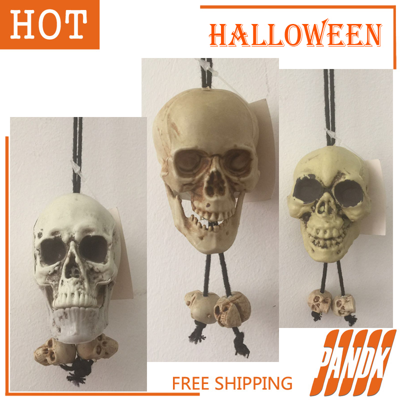 scary skull halloween skull decorations halloween skeleton hanging props party spoof tricky plastic pendant skull free - Halloween Skull Decorations