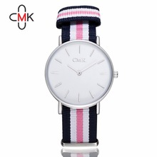 Simple ultra thin Quartz Watch New Arrival Classic Nylon stripes Men Women Watches 2016 CMK Brand Quality lovers Wristwatches